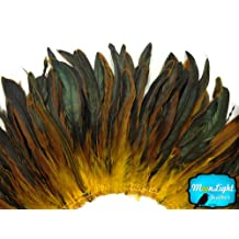Rooster Feathers 1/2 Yard Yellow Half Bronze Coque Tail Strung Feathers