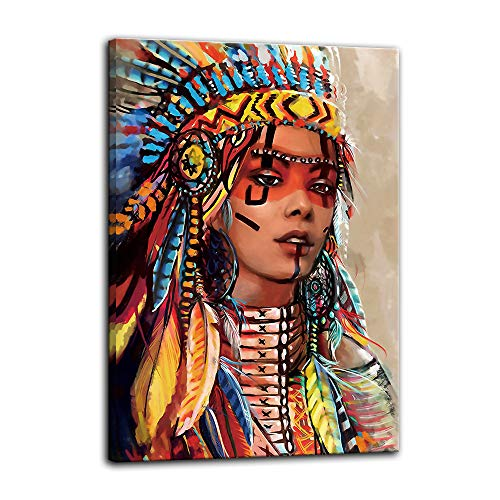 Urttiiyy Indian Girl Chief Native American Canvas Wall Art Feathered Women Prints Gifts Home Decor Decals for Bedroom Posters Pictures Paintings Framed Ready to Hang (16''Wx24''H, Artwork-03) (Wedding Gift Ideas For Best Friend Female Indian)