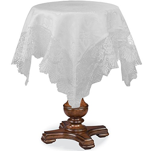 HomeCrate Luxurious Champion Print Design Lace Trimming 36'' Square Table Toppers - In White by HomeCrate