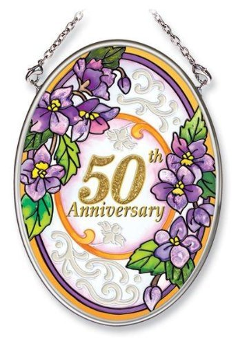 Amia 5531 Hand Painted Glass Suncatcher with 50th Anniversary Design, 3-1/4-Inch by 4-1/4-Inch Oval
