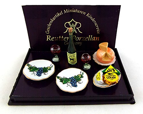 Melody Jane Dolls Houses House Miniature 1:12 Scale Cheese And Wine Dessert Set Melody Dessert