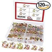 Hilitchi 120 Pcs Spring Band Type Action Fuel / Silicone Vacuum Hose Pipe Clamp Low Pressure Air Clip Clamp (10 x 7mm 10mm 11mm 14mm 16mm 17mm)