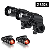 Ultra Bright 300Lumen LED Bicycle headlight-Bicycle Front Light LED Flashlight -Fit All Bike - with Free Alumium Taillight Bonus-Easy Install No Need Tool-2 PACK