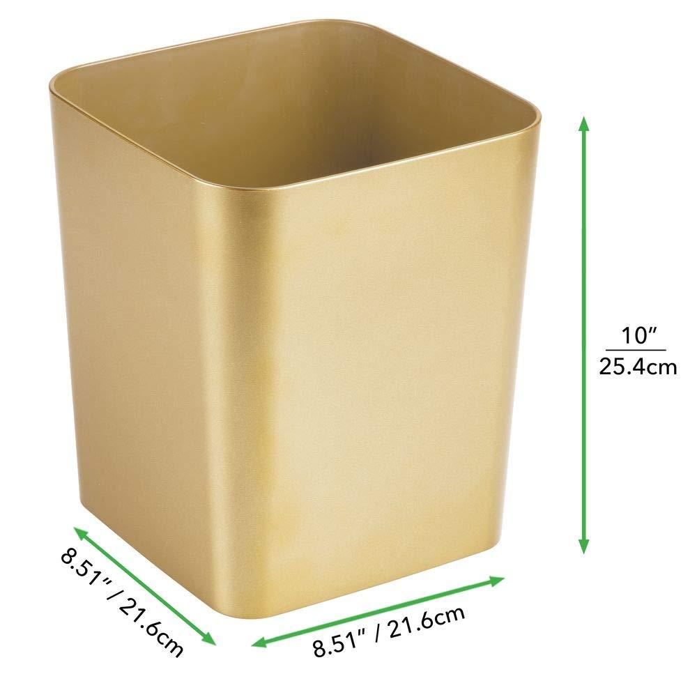 Abfalleimer aus Kunststoff rotgold stabiler Abfallsammler f/ür Bad K/üche oder Arbeitszimmer quadratischer Kosmetikeimer im eleganten Design mDesign 2er-Set M/ülleimer Bad