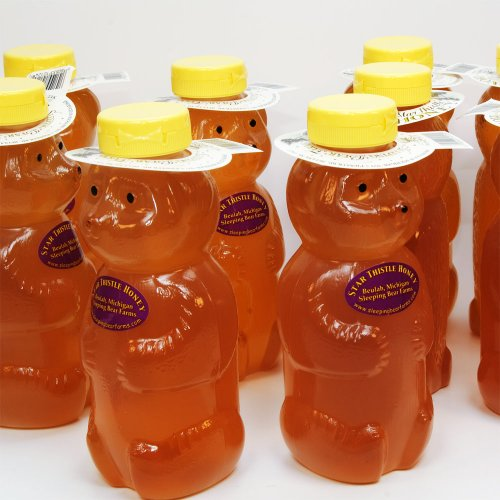 Star Thistle Honey Bear 24 Oz. Case of 12 Unpasteurized Unblended No Additives Pure Michigan Honey by Sleeping Bear Farms