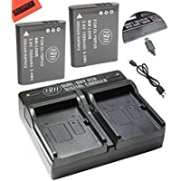 BM Premium Pack of 2 LI-90B, LI-92B Batteries and USB Dual Battery Charger for Olympus Tough TG-5, TG-Tracker, Tough SH-1, SH-2, SP100 IHS, Tough TG-1 iHS, TG-2 iHS, TG-3, TG-4, SH-50, SH-60, XZ-2 his