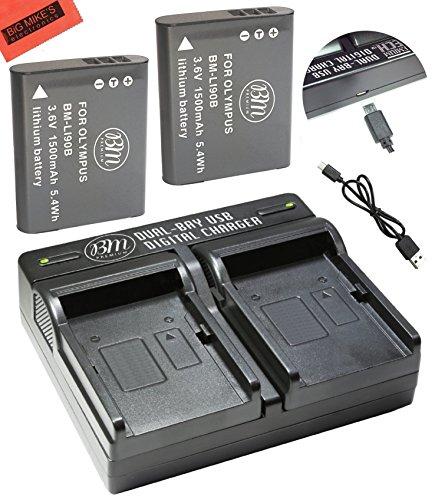 BM Premium Pack of 2 LI-90B, LI-92B Batteries - 1 Tg Usb