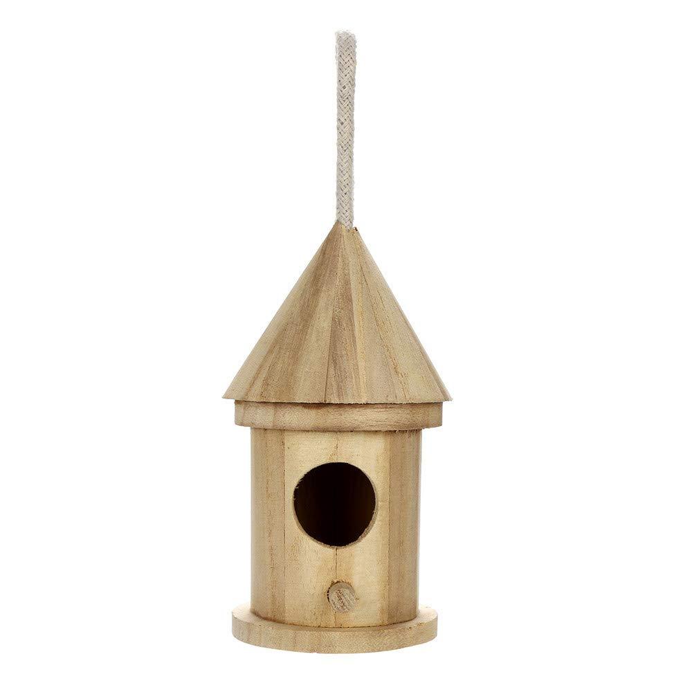 Oldeagle Khaki Wooden Nest Bird House, Clear View Window Bird Box, Natural Wood Birdhouse Hanging Decoration