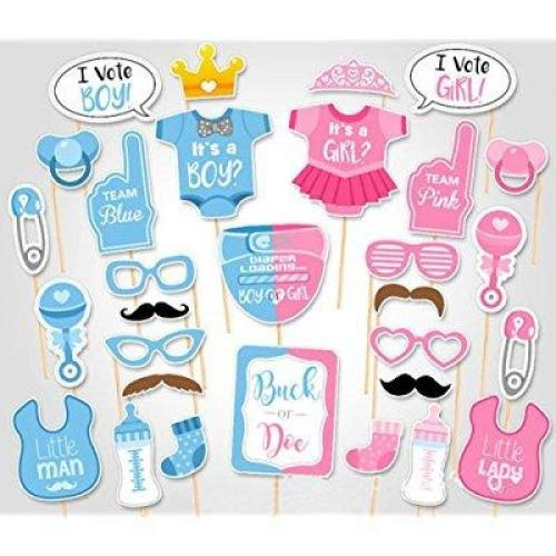 RainlemonTM Gender Reveal Party Boy or Girl Photo Booth Props Kit On A Stick