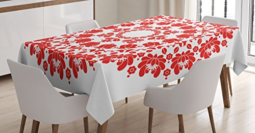 Ambesonne Red Mandala Tablecloth, Hungarian Round Folk Art Pattern Tulips Traditional Kalocsai Old Fashioned, Dining Room Kitchen Rectangular Table Cover, 52 W X 70 L inches, Vermilion and (Folk Art Gift)