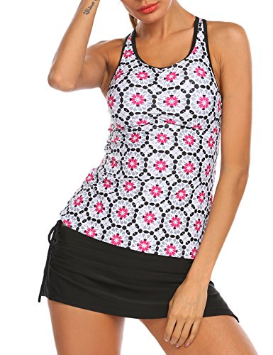 Ekouaer Women Two Piece Tankini Set With Printed Tankini Tops and Boyshort(Rose Red, XL) (Boyshort Tankini)