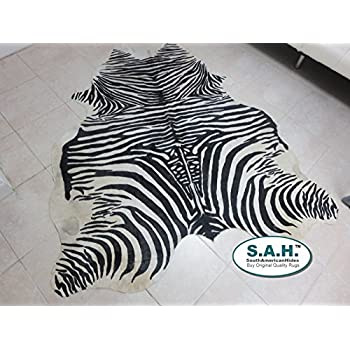 Stencil Zebra Print Hair-on Leather Pure Brazillian Cowhide Skin Rug - by BlackSwanHides