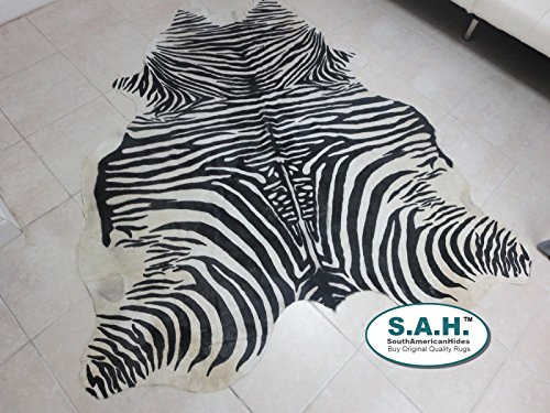 Stencil Zebra Print Hair-on Leather Pure Brazillian for sale  Delivered anywhere in USA