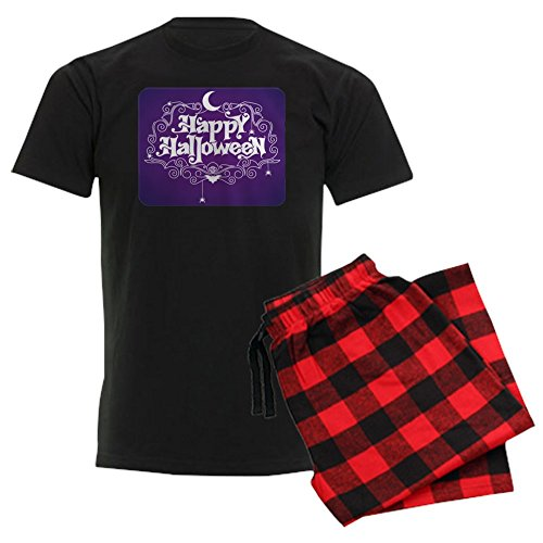 (Royal Lion Men's Dark Pajamas Happy Halloween Bats and Spiders - Red Plaid, Large)