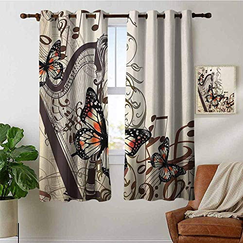 petpany Bedroom Curtains Butterflies,Harp Ornament and Butterflies Classic Musical Instrument Concert Theme,Cream Orange Black,Thermal Insulated Room Darkening Window Shade 42