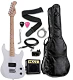 Raptor 3/4 Scale 36'' Kids Child Starter Electric Guitar Pack WHITE with 3W Amp, Digital Tuner, Gig Bag, Strap, Cable, Replacement Strings, Whammy Bar and RAPTOR Picks
