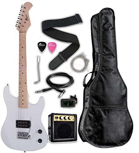 Raptor 3/4 Scale 36'' Kids Child Starter Electric Guitar Pack WHITE with 3W Amp, Digital Tuner, Gig Bag, Strap, Cable, Replacement Strings, Whammy Bar and RAPTOR Picks by Raptor