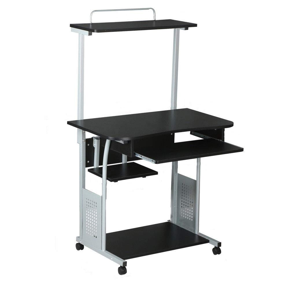 52.4''H Portable Rolling Black Computer Desk w/Tray & Shelf with Ebook