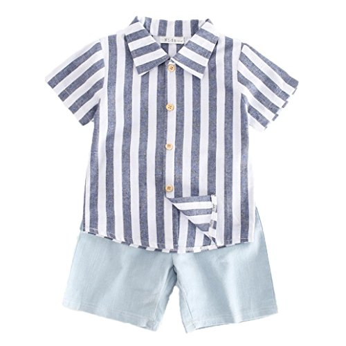 Moonker Kids Child Toddler Baby Boys Summer Clothes Stripe Tops Shirt and Cowboy Shorts Pants Outfits Set 2-6Yr (2-3 Years Old, Blue) from Moonker