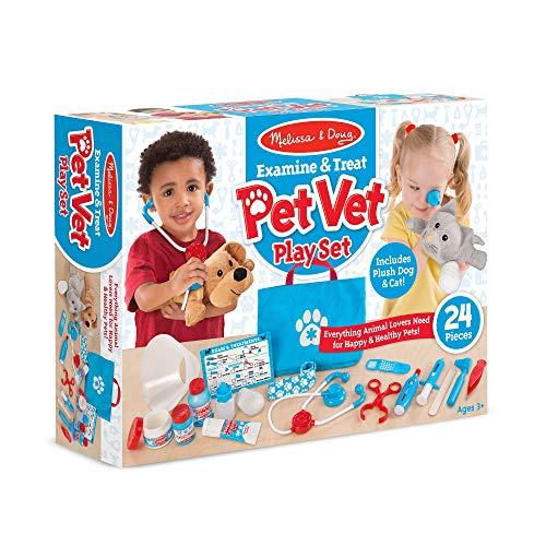 "51q1MeRQEjL - Melissa & Doug Examine & Treat Pet Vet Play Set (Animal & People Play Sets, Helps Children Develop Empathy, 24 Pieces, 10.5"" H x 13.5"" W x 3.5"" L)"