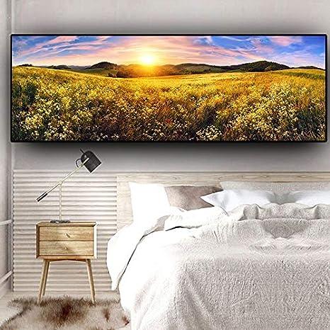 N / A Naturaleza Flor Sol Montaña Paisaje Cardross Carteles e Impresiones Lienzo Mural Sala de Estar Cuadro Sin Marco Pintura 52cmX140cm