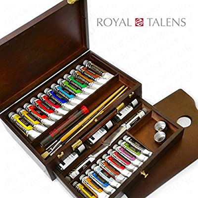 Royal Talens - Rembrandt Oil Colour Box - Master Gold Edition in Wooden Chest - With Paints, Palette, and Brushes