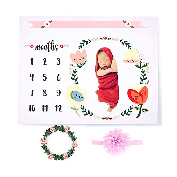 CAVN Baby Monthly Milestone Blanket Photography Props Backdrop for Newborn Boy Girl (Headband and Frame Included), Infant Newborn Baby Swaddling Month Blanket for Photography New Mom Baby Shower Gifts