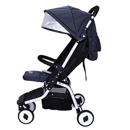 QZX Cochecito de bebé Ligero y Compacto Cochecito de bebé Plegable con Asiento reclinable Plegado con