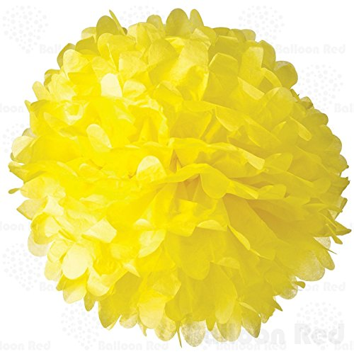 10 Inch Tissue Paper Flower Pom Poms, Pack of 5, Yellow (Red And White Halloween Cake)