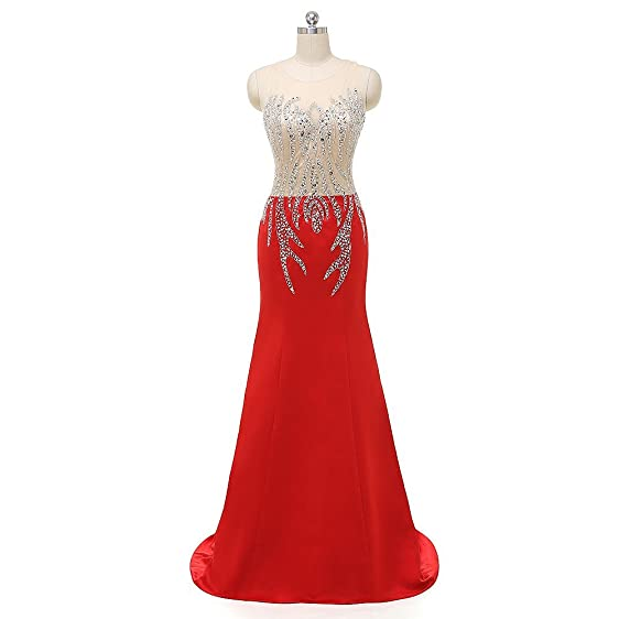 Amazon.com: MH Beading Illusion Back Prom Dresses Mermaid Crystals ...