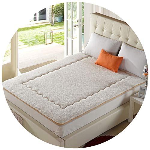 (. Winter Bedspread Warm Bed pad Patchwork Bedspread Camo Fleece Bedding 4cm Berber Fleece colchas Cotton-Padded Mattress,White,120 by)