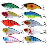 "HENGJIA Pack of 10 Sinking Rattling Wiggler VIB Lipless Crankbaits Hard Fishing Lures Wobbler for Sea Bass & Trout 7.5cm/2.95""/18g"