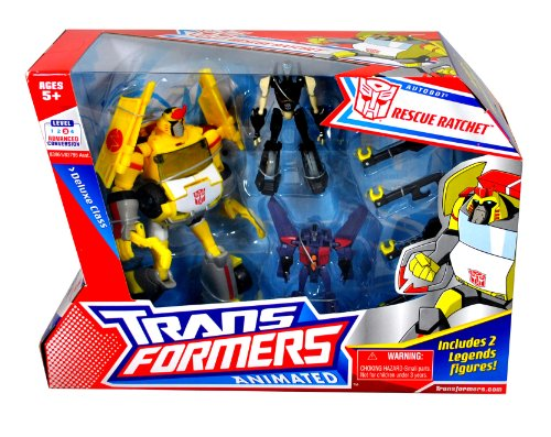 Hasbro Year 2008 Exclusive Transformers Animated Series 3 Pack Set Robot Action Figure - Deluxe Class (6 Inch Tall) Autobot RESCUE RATCHET with Tools Accessory Plus Legend Class (3 Inch Tall) Autobot PROWL and Decepticon STARSCREAM