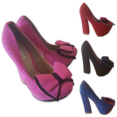 Big Block Bow Angular Shoe Collection Irregular Heel Court Kapri's With Wine Suede 5AnzqBxEg