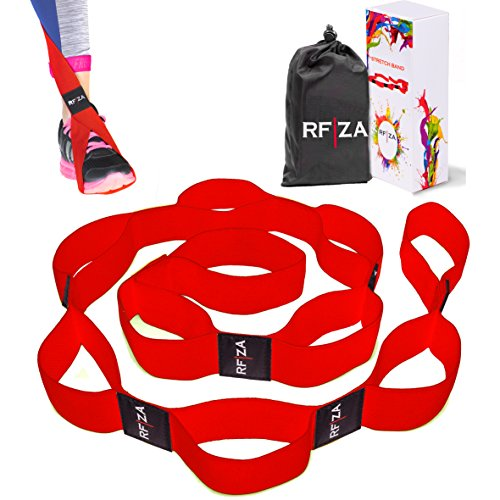 Yoga Strap for Stretching by RFZA – Non-latex Ballet Stretch Band with 10 Loops – Elastic Exercise Stretch Belt for Flexibility Physical Therapy Quad Hamstring Dancing Yoga Ballet and Pilates (Red)