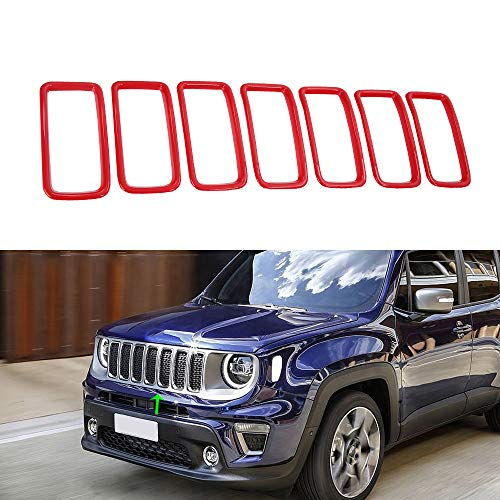 Oubolun OBL Front Grill Grille for 2019 Jeep Renegade ABS Insert Mesh Trim Car Exterior Accessories Silver 7 Pack (red)