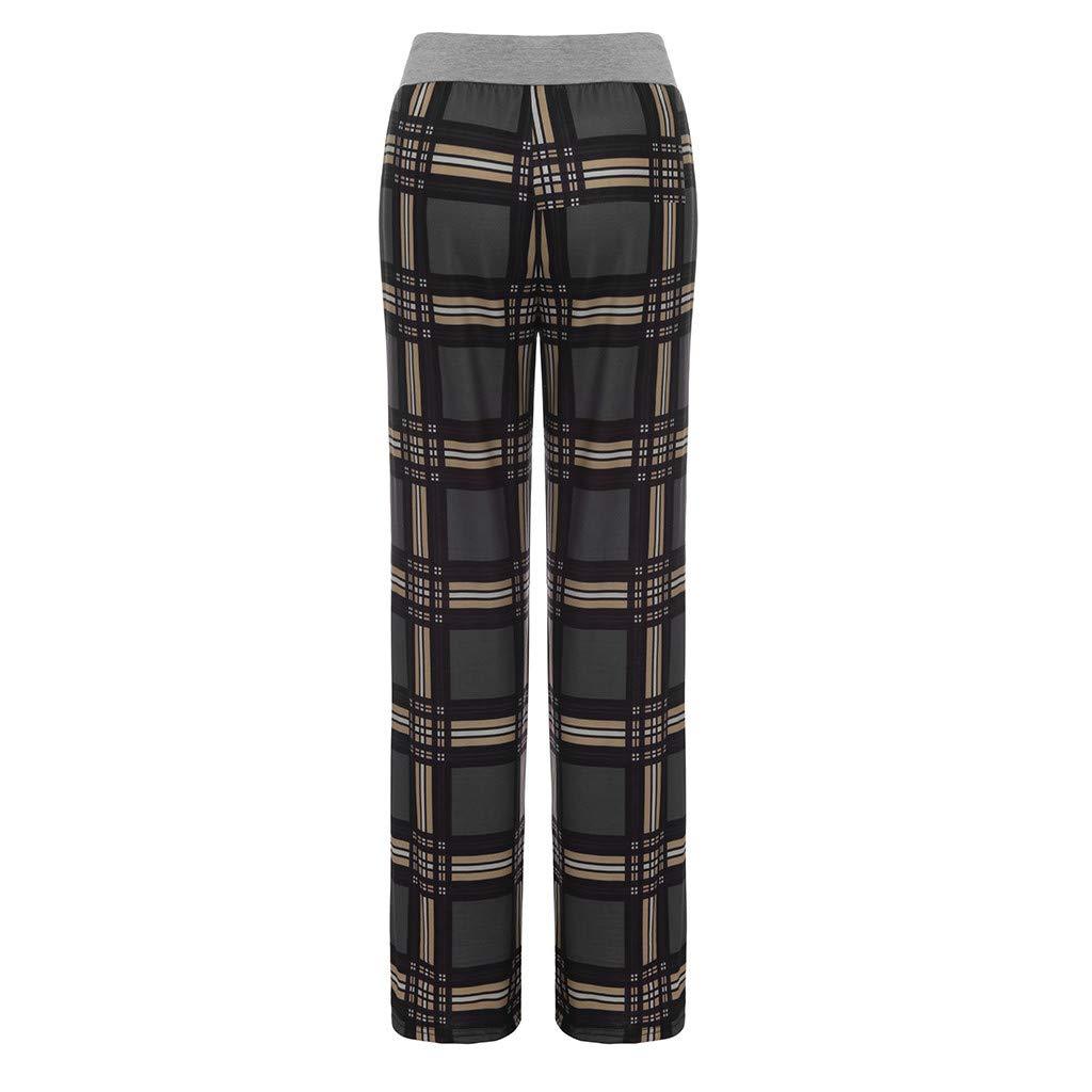 Dunacifa Womens High Waist Yoga Pants Fashion Plaid Floral Trousers Ladies Autumn Casual Wide Legs Yoga Pants