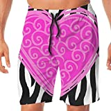 Quick Dry Men's Beach Shorts Pink Heart Black Leopard Painting Surfing Trunks Surf Board Pants Pockets XXL