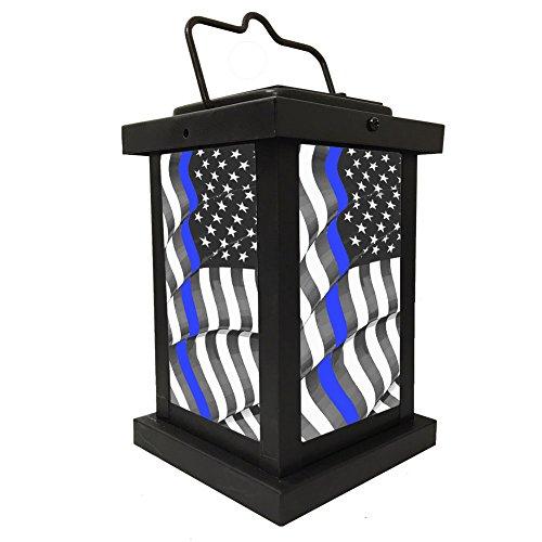 Brotherhood Light of Hope, Law Enforcement Thin Blue Line Flowing Flag Solar Light, Indoor Outdoor by Brotherhood