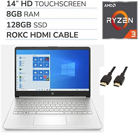 "HP 2021 Premium 14"" HD Touchscreen Laptop Computer, 2 Core AMD Ryzen 3-3250U 2.6GHz, 8GB RAM, 128GB SSD, No DVD, Webcam, Bluetooth, Wi-Fi, HDMI, Win 10, ROKC HDMI Cable WeeklyReviewer"