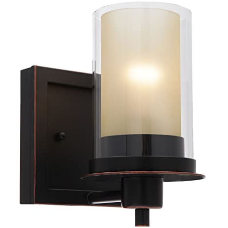 Designers Impressions Juno Oil Rubbed Bronze 1 Light Wall Sconce / Bathroom  Fixture With Amber And