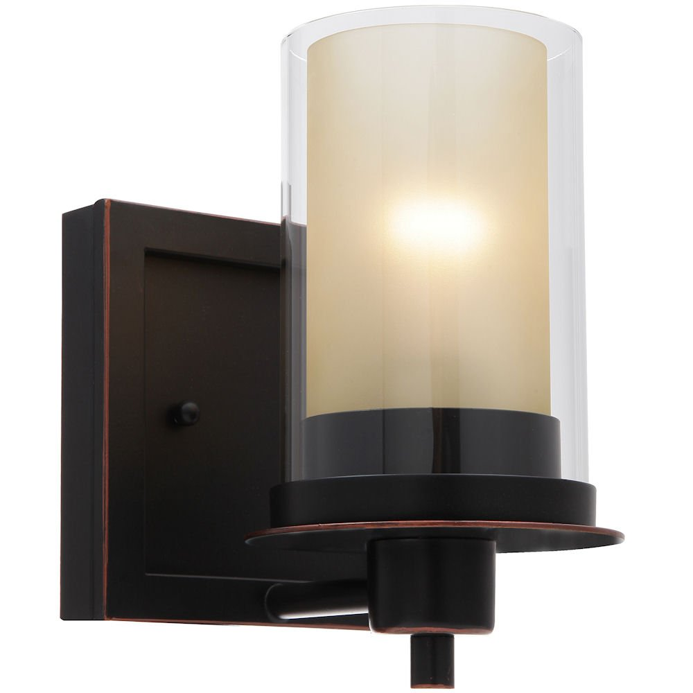 Designers Impressions Juno Oil Rubbed Bronze 1 Light Wall Sconce / Bathroom Fixture with Amber and Clear Glass: 73467