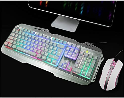 Color : White Xiao Jian Wired Eating Chicken Game Keyboard and Mouse Set Backlight Mechanical Hand Keyboard//Notebook Desktop Computer USB Interface Keyboard 104 Key Keyboard