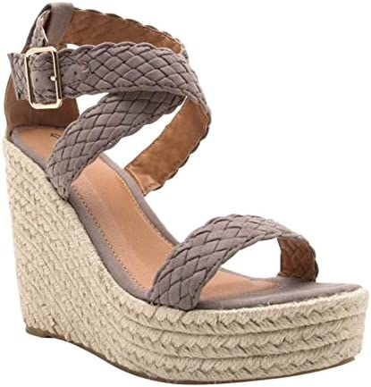 ef6d1d6cac3 Qupid Women's Espadrille Wedge Sandal, Taupe/220-1, 6 M US: Buy ...