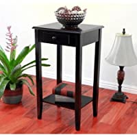 Home Craft End Table/Night Stand with Drawer, Espresso Finish