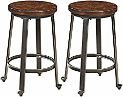 Signature Design by Ashley Challiman Stool, Rustic Brown, Set of 2, Counter Height