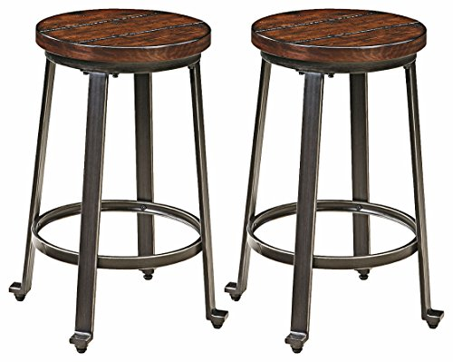 Ashley Furniture Signature Design - Challiman Bar Stool - Counter Height - Set of 2 - Rustic Brown (Bar Metal Stools Wood)