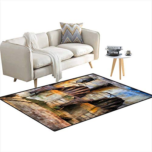 (Room Home Bedroom Carpet Floor Mat Rysty Helix Staircase Aquarelle 40
