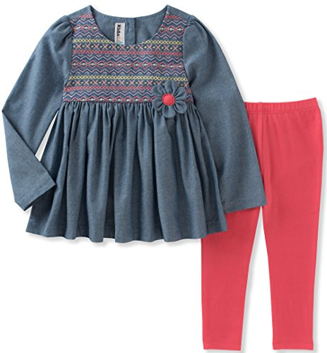 Kids Headquarters Baby Girls' Tunic Legging Set, Blue/Coral, 12M