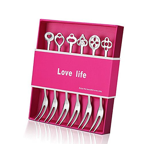 10 Fruit - UEMXUS 18/10 Stainless Steel Fruit Forks, Bistro Cocktail Tasting Appetizer Cake Forks, Wedding Party Dessert Forks Set (Pack of 6)